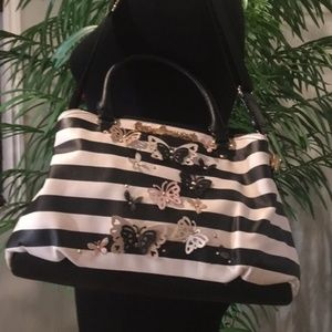 Betsey Johnson Butterfly Black and White Satchel